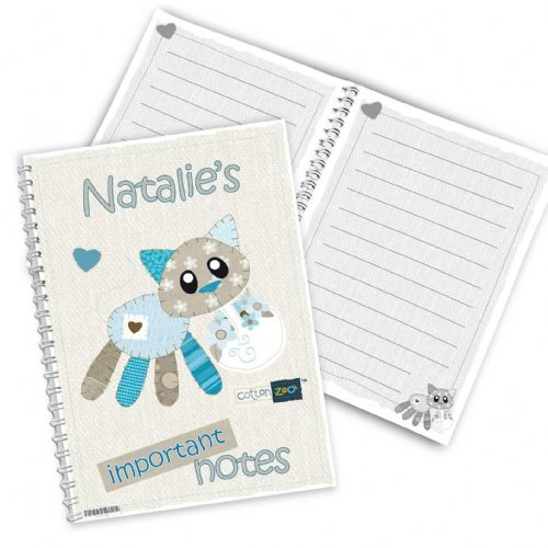 Personalised Cotton Zoo Calico the Kitten Notebook